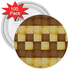 Wood Texture Grain Weave Dark 3  Buttons (100 Pack)