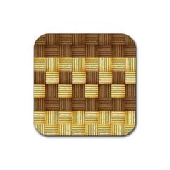 Wood Texture Grain Weave Dark Rubber Coaster (square)