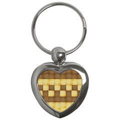 Wood Texture Grain Weave Dark Key Chains (heart)