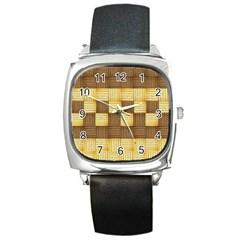 Wood Texture Grain Weave Dark Square Metal Watch