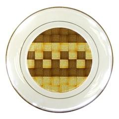 Wood Texture Grain Weave Dark Porcelain Plates