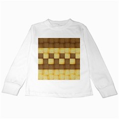 Wood Texture Grain Weave Dark Kids Long Sleeve T Shirts