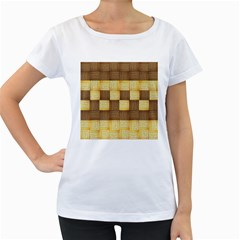 Wood Texture Grain Weave Dark Women s Loose Fit T Shirt (white)