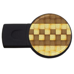Wood Texture Grain Weave Dark Usb Flash Drive Round (4 Gb)