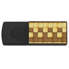 Wood Texture Grain Weave Dark Rectangular Usb Flash Drive