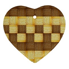 Wood Texture Grain Weave Dark Heart Ornament (two Sides)