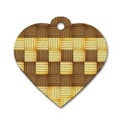 Wood Texture Grain Weave Dark Dog Tag Heart (one Side)