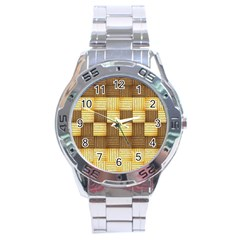 Wood Texture Grain Weave Dark Stainless Steel Analogue Watch