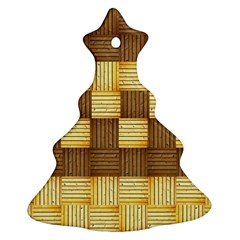 Wood Texture Grain Weave Dark Christmas Tree Ornament (two Sides)