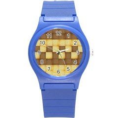 Wood Texture Grain Weave Dark Round Plastic Sport Watch (s)
