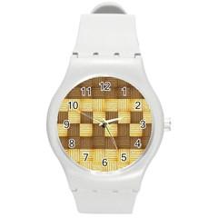Wood Texture Grain Weave Dark Round Plastic Sport Watch (m)