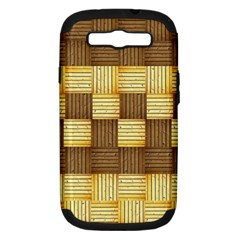 Wood Texture Grain Weave Dark Samsung Galaxy S Iii Hardshell Case (pc+silicone)