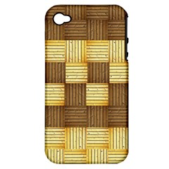 Wood Texture Grain Weave Dark Apple Iphone 4/4s Hardshell Case (pc+silicone)