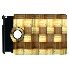 Wood Texture Grain Weave Dark Apple Ipad 3/4 Flip 360 Case by Nexatart