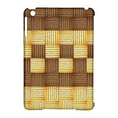 Wood Texture Grain Weave Dark Apple Ipad Mini Hardshell Case (compatible With Smart Cover)