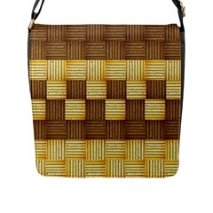 Wood Texture Grain Weave Dark Flap Messenger Bag (l)