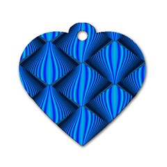 Abstract Waves Motion Psychedelic Dog Tag Heart (two Sides)