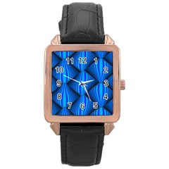 Abstract Waves Motion Psychedelic Rose Gold Leather Watch