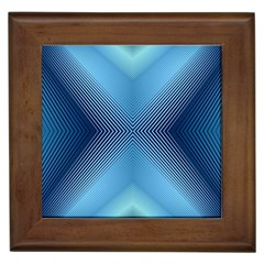Converging Lines Blue Shades Glow Framed Tiles