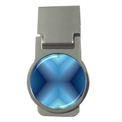 Converging Lines Blue Shades Glow Money Clips (round)