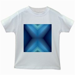 Converging Lines Blue Shades Glow Kids White T Shirts