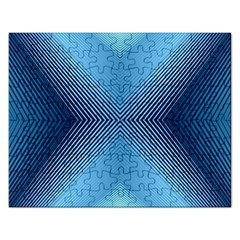 Converging Lines Blue Shades Glow Rectangular Jigsaw Puzzl