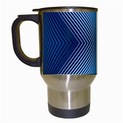 Converging Lines Blue Shades Glow Travel Mugs (white)