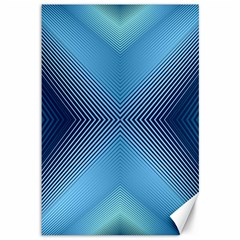 Converging Lines Blue Shades Glow Canvas 12  X 18