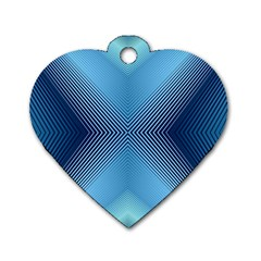 Converging Lines Blue Shades Glow Dog Tag Heart (two Sides)