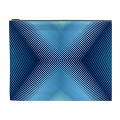 Converging Lines Blue Shades Glow Cosmetic Bag (xl)