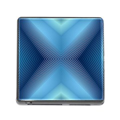Converging Lines Blue Shades Glow Memory Card Reader (square)
