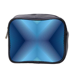Converging Lines Blue Shades Glow Mini Toiletries Bag 2 Side by Nexatart