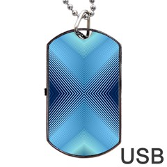 Converging Lines Blue Shades Glow Dog Tag Usb Flash (one Side)