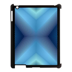 Converging Lines Blue Shades Glow Apple Ipad 3/4 Case (black)