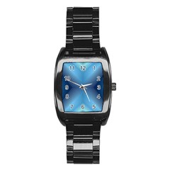 Converging Lines Blue Shades Glow Stainless Steel Barrel Watch