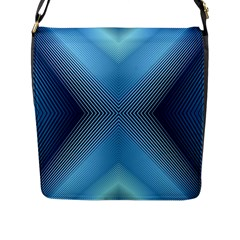Converging Lines Blue Shades Glow Flap Messenger Bag (l)