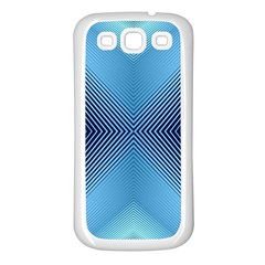 Converging Lines Blue Shades Glow Samsung Galaxy S3 Back Case (white)