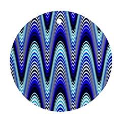 Waves Wavy Blue Pale Cobalt Navy Ornament (round)
