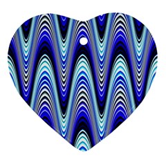 Waves Wavy Blue Pale Cobalt Navy Ornament (heart)