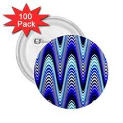 Waves Wavy Blue Pale Cobalt Navy 2 25  Buttons (100 Pack)