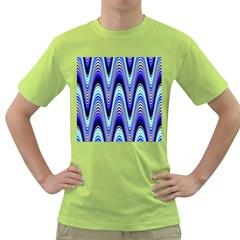Waves Wavy Blue Pale Cobalt Navy Green T Shirt