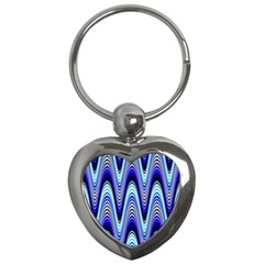 Waves Wavy Blue Pale Cobalt Navy Key Chains (heart)