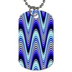 Waves Wavy Blue Pale Cobalt Navy Dog Tag (one Side)