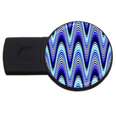 Waves Wavy Blue Pale Cobalt Navy Usb Flash Drive Round (2 Gb)