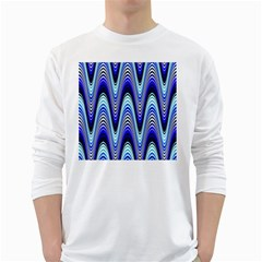 Waves Wavy Blue Pale Cobalt Navy White Long Sleeve T Shirts