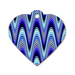 Waves Wavy Blue Pale Cobalt Navy Dog Tag Heart (one Side)