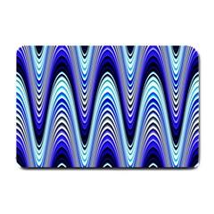 Waves Wavy Blue Pale Cobalt Navy Small Doormat