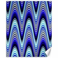 Waves Wavy Blue Pale Cobalt Navy Canvas 11  X 14