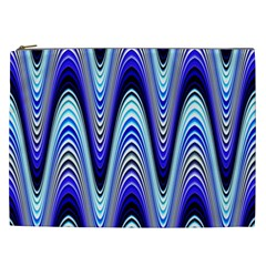 Waves Wavy Blue Pale Cobalt Navy Cosmetic Bag (xxl)