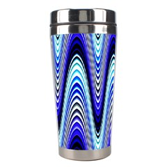 Waves Wavy Blue Pale Cobalt Navy Stainless Steel Travel Tumblers
